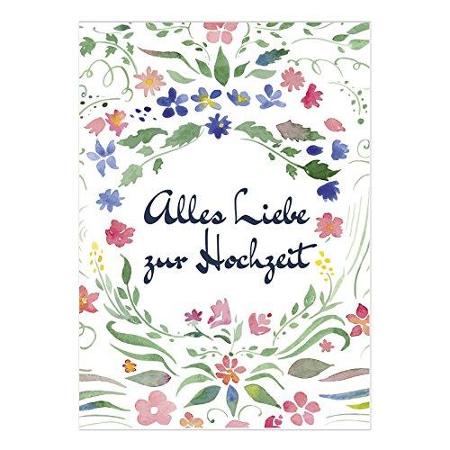 XXL Glückwunschkarte zur Hochzeit / DIN A4 / Alles Liebe zur Hochzeit / mit Umschlag / Hochzeitskarte / Glückwunsch Karte