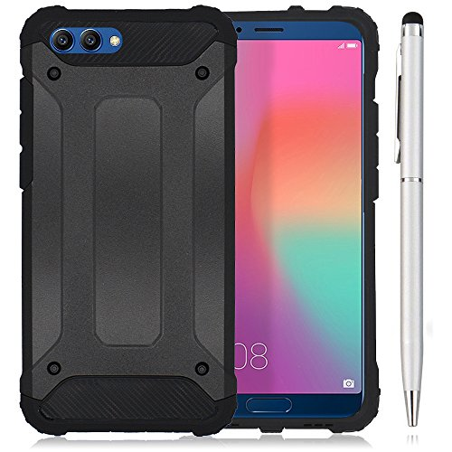 Hcheg 2in1 Zubehör Set: Hybrid Outdoor Hülle für Huawei Honor View 10 - Dual TPU Silikon Hard Case Schwarz Handy Hard Cover +1 x Stylus Touch Pen silber Dual-view-case