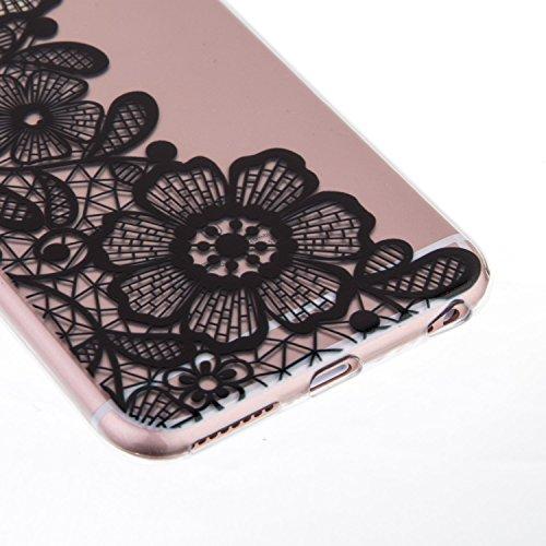 Custodia in silicone nero iPhone 64.7pollici, iPhone 6S, colore: nero, con design, vioela Unique Pretty Pizzo Floreale Nero Art Flower Henna Mandala elefante Ananas Dandelion Pittura Dipinto Design  Floral #2