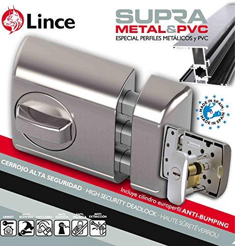 Lince Cerrojo Seguridad SOBREPONER Supra-Especial para Puertas de Aluminio y PVC, Negro