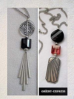 Pendentif Art Déco rouge et noir cristal Swarovski
