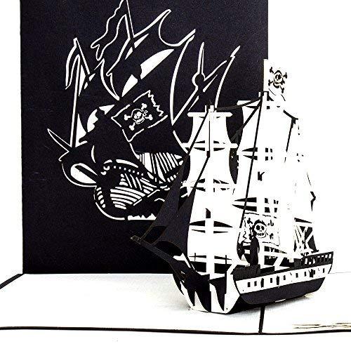 """Pop-Up Karte """"Piratenschiff"""", 3D Klappkarte, Piraten-Karten, Geburtstagskarte, Gutscheinkarte Schiff, Glückwunschkarte Schiff/Boot 3-Master"""