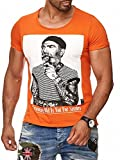 Herren T-Shirt Growing Old is Not for Sissies Freizeitshirt Tattoo Print Motiv Slim Fit Tshirt (XL, Orange)