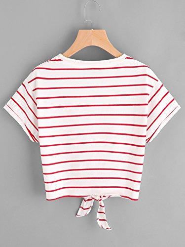 Romwe Damen Gestreift Crop Top Kurzarm Streifen Shirt Rot