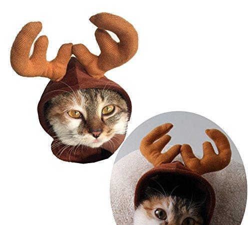 Imagen de kungfu mall gorro de disfraz de mascota gato perro cuernos de navidad cap mascota perro ropa cuernos de reno gorro de invierno cachorro de perro gato diadema navidad cuello fba llegará  alternativa