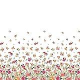 Soimoi Weiß Seide Stoff Blätter und Blumen Platte Stoff