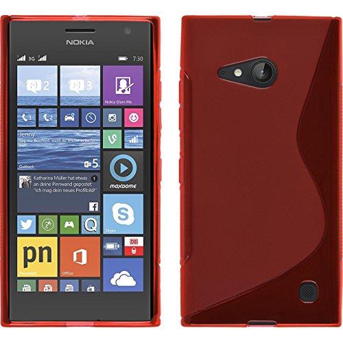 PhoneNatic Case kompatibel mit Nokia Lumia 730 - rot Silikon Hülle S-Style + 2 Schutzfolien