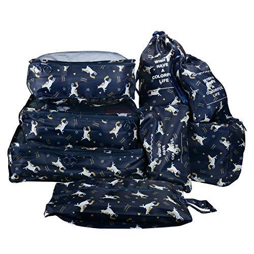 8 in 1 Kleidertaschen Set Koffer Organizer Reise Kleidertaschen Reisetasche in Koffer Wäschebeutel Schuhbeutel Kosmetik Aufbewahrungstasche Farbwahl Einhorn EINWEG