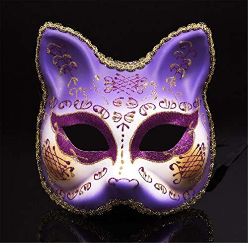 LPP Halloween Maske, Kreative Maskerade Goldpulver Einfarbig Halbes Gesicht, Katzengesicht Erwachsene Party Party Cartoon Tier Bemalte Wangenschleier Purple (Halloween Bemalte Gesichter)