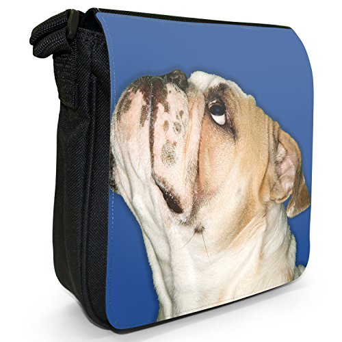 Nahaufnahme von Bulldogge nach oben schauend Kleine Schultertasche aus schwarzem Canvas Bulldogge schaut nach oben Blau