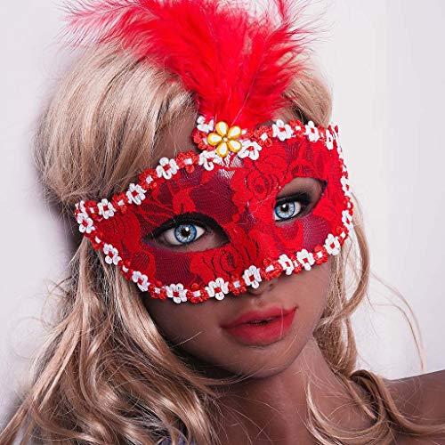 Ausgefallene Feder Maske - bloatboy Traum Eule Pailletten Lace Mask