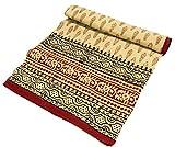 Guru-Shop Indische Blockdruck Tagesdecke, Bett & Sofaüberwurf, Wandbehang, Wandtuch - Blatt, Baumwolle, Größe: Double 225x275 cm, Bettüberwurf, Sofa Überwurf
