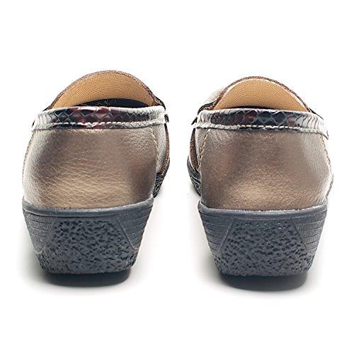 Damen Keilabsatz Print Halbschuhe Slipper Mokassin Loafer Damen Freizeit Schuhe Bronze