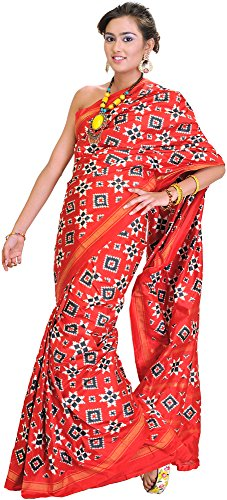 Exotic India Aurora-Red Authentic Double Ikat Sari Hand-woven in Pochampally Village - Red Ikat Sari