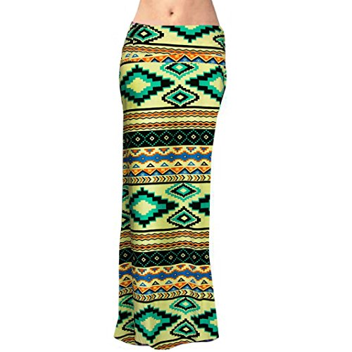 Tonsee Longue Jupe Femmes Poly floraux Span Maxi Skirt Multicolore 9