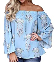 X-Future Womens Floral Off Shoulder Flare Sleeve Drawstring Loose Blouse Top 1 M