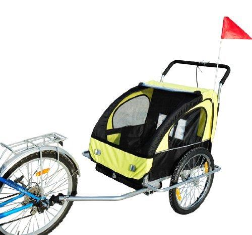 HOMCOM Remolque para Niños DOS PLAZAS con Amortiguadores Carro para Bicicleta CON BARRA INCLUIDA y Kit de Footing COLOR AMARILLO Y NEGRO…