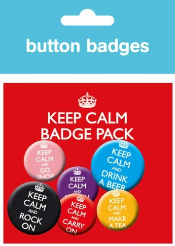 GB eye Keep Calm And Carry on Badge Pack