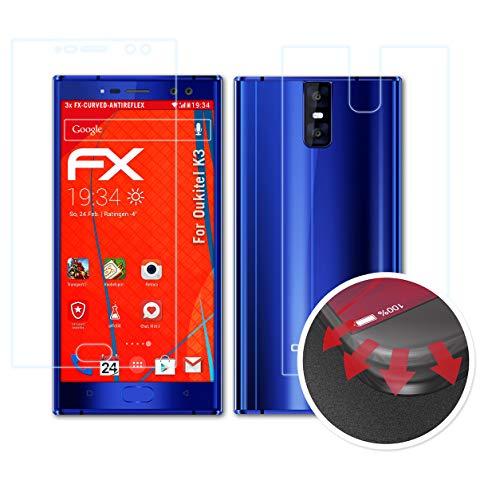 atFolix Schutzfolie passend für Oukitel K3 Folie, entspiegelnde & Flexible FX Bildschirmschutzfolie (3er Set)