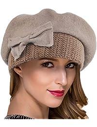 3cc9b0963e246 Ruphedy Women French Beret - 100% Wool Beret Knit Beanie Winter Dress Hat  Hy022