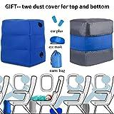 HAOBAIMEI Aufblasbare Fußstütze Reisekissen Beinkissen Kinder-Reisebett verstellbar im Flugzeug oder zu Hause (Blau)