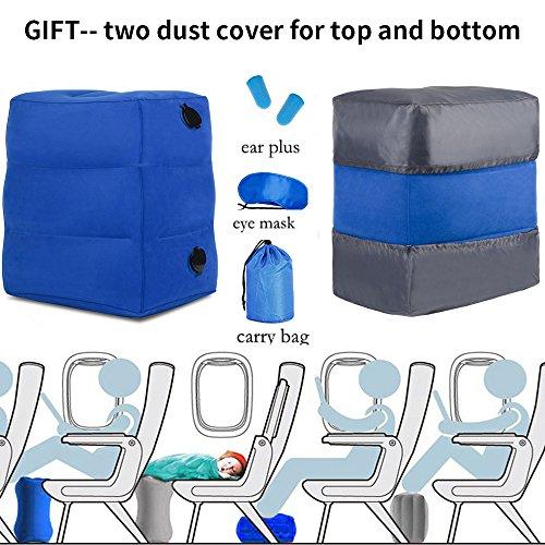Poggia-piedi da viaggio gonfiabile haobaimei-viaggi cuscino da viaggio per bambini cuscino poggia-piedi gonfiabile per piedino (blu)