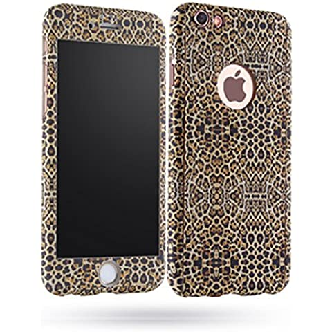 Custodia iPhone 7 360 Gradi, Yoowei® Ultra Sottile PC Copertura Anteriore Indietro Cover con Pellicola (Leopard Elegante)