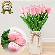 CRMICL Tulipanes Artificial, flores artificiales ramilletes decoración, tulipanes de reales al tacto para ramo para novia, decoración floral para fiesta de boda de jardín, 12 Piezas Ideal para decoración de casa y patio-Rosado