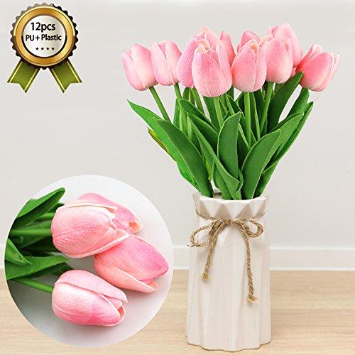 Crmicl fiori artificiali, pu tulip fiore artificiale, artificiale del tulipano fiori per wedding bouquet di fiori finti e decorazione per la casa garden decor, decorazione fai da te per matrimonio, stanza d'albergo, 12 pezzi pink