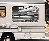 3D Autoaufkleber Landschaft Meer Ozean Australien schwarz weiß Wohnmobil Auto KFZ Fenster Sticker Aufkleber 21A516, Größe 3D sticker:ca. 45cmx27cm