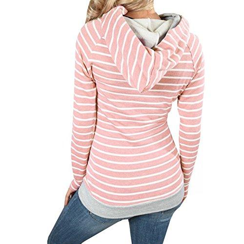 Femme Sweat à Capuche Hoodie Sweatshirt - Femmes Rayures Sport Hauts Tops Manches Longues Hiver Manteau Veste Pullover Blouse Blouson Highdas Rose