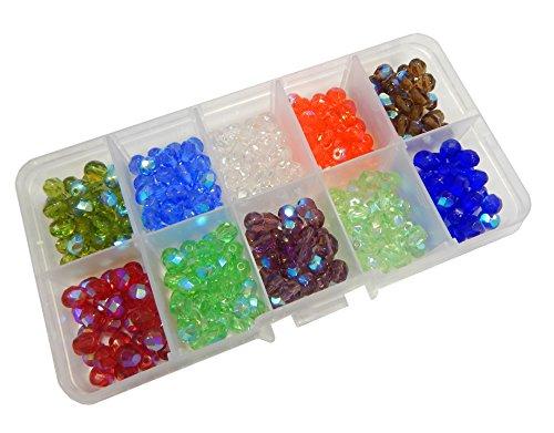 300 Stk Preciosa Glasschliffperlen 6mm Feuerpoliert Facettiert Rund, 10 Farben Bunte, Tschechische CZ Kristall Perlen, Glasperlen, Schliffperlen, Schmuckperlen, mit Perlenbox
