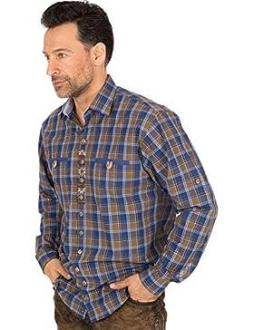 orbis Textil Trachtenhemd Krempelarm Blau Braun