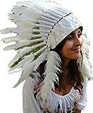 X10 - Sombrero Indio plumas blanco (tamaño corto) Penacho / Tocado / Headdress