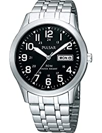 Pulsar Men's functional SS Black Dial Stainless Steel Bracelet Watch PXN181X1
