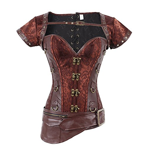 Authentische Burlesque Kostüm - FeelinGirl Damen Steampunk Korsett Kunstleder korsagenkleid Rock Kostüm Burlesque Korsett Faschingskostüm, Braun 9, S(EU 34)