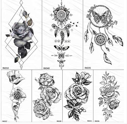 Yyydl adesivo colorato tatuaggio temporaneo 3d black dream catcher autoadesivo dei tatuaggi temporanei rose leaf body art braccio tatuaggi finti tatuaggio personalizzato impermeabile 10 * 6 cm 7 pezzi