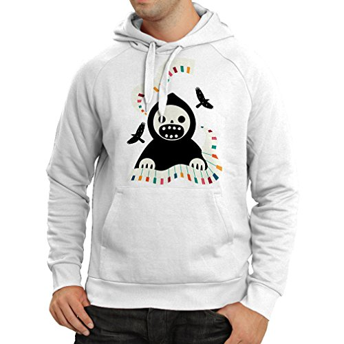 (Kapuzenpullover Halloween Horror Nights - The Death is Playing on Piano - cool Scarry Design (XXX-Large Weiß Mehrfarben))