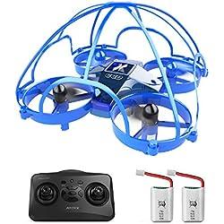 ATOYX Mini Drone, AT-66D RC Drone Protección de 360 °, 3D Flips,Una Tecla de Retorno, Altitud Hold, Modo sin Cabeza, 3 Modos de Velocidad, 2 Baterías, Mejor Regalo, Azul
