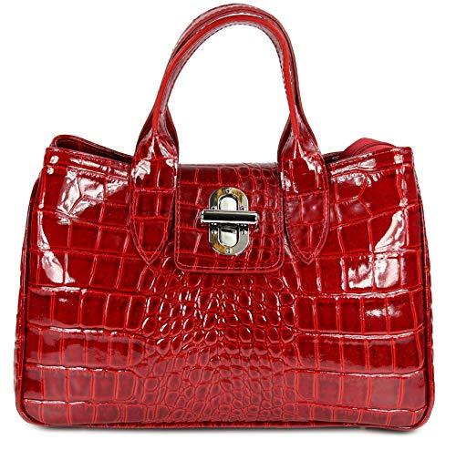 Belli Echt Leder Handtasche Damen Ledertasche Umhängetasche Henkeltasche in rot lack Kroko Prägung - 36x25x18 cm (B x H x T)