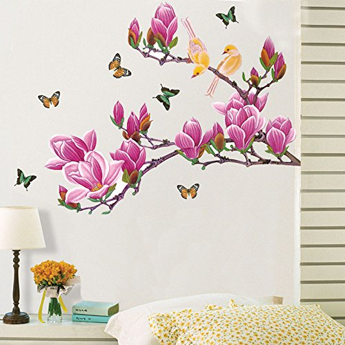 ryask (TM) Beautiful Kapok fiori farfalla Uccellini farfalla primavera View rimovibile Wall Stickers DIY carta da parati Decorazione Casa