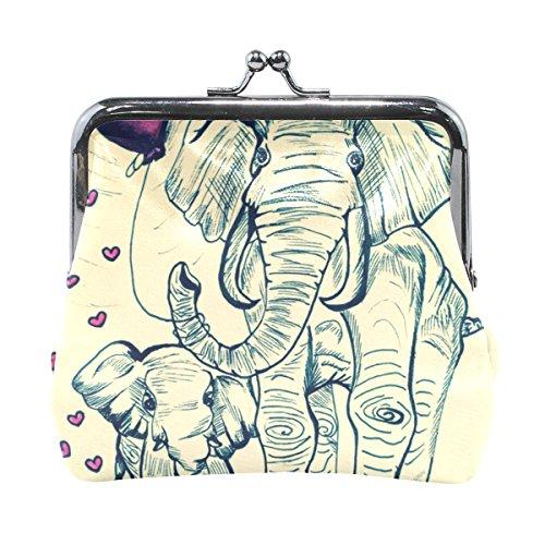 COOSUN Pintura de piel elefantes moneda del embrague monedero de cierre a...