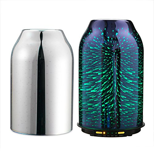 TaoTronics Aroma Diffuser 3D Glas Aromatherapie Humidifier 200ml Diffuser Duftlampe Luftbefeuchter Oil Düfte mit 2 Glasdeckel 7 LED Farben für Yoga Salon Spa Wohn-, Schlaf- Kinderzimmer Hotel