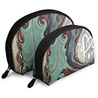 Oil Paint Cowboy Boots WomenTravel Cosmetic Bags Waterproof FabricSmall Makeup Clutch Pouch Bag