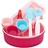VonShef 18 Piece Silicone Bakeware Baking Set - Cupcake, Round Cake, Loaf Moulds, Icing Decorator + Spatula & Pastry Brush