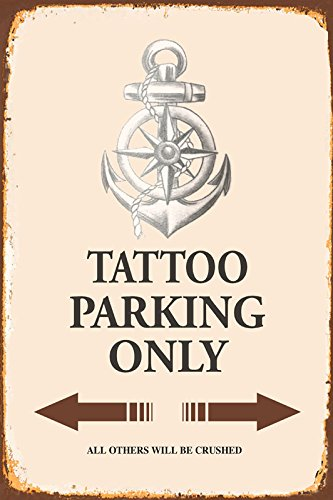 Tattoo Parking only park schild tin sign schild aus blech garage