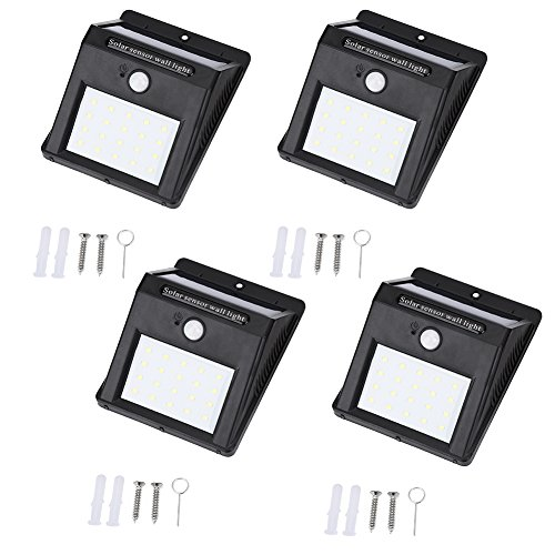 AMTSKR 4 Pack Motion Sensor Lampe, Tragbare Outdoor Waterproof Solar Power 20 Led Motion Induction Lampe Leuchtstofflampe Für Wand Front Tür, Terrasse, Deck, Hof -