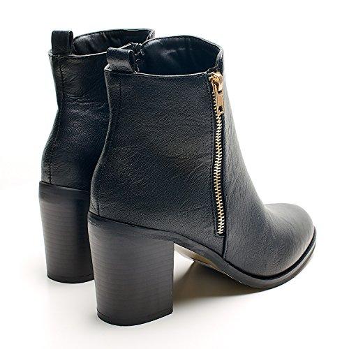 Botina Zipper Senhoras Salto Sapatos E Lado Elevado Do Cadeia Eu Tornozelo Ouro Fivela Com De Botas Zip Negro Pu Tamanho r7q7wIWB
