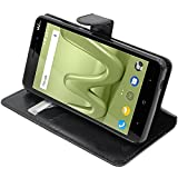 ebestStar - Coque Wiko Lenny 4 Plus Etui PU Cuir Housse Portefeuille Porte-Cartes Support Stand, Noir [Appareil: 156 x 79 x 9.35mm, 5.5'']