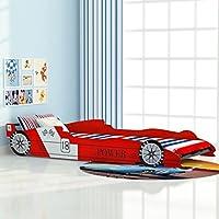 XuzhEU Cama con Forma de Coche de Carreras para Niños 90x200 cm roja